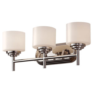 Malibu Polished Nickel Three Light Vanity Fixture with Opal Etched Glass
