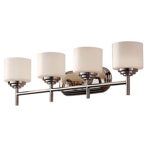 Malibu Polished Nickel Four Light Vanity Fixture with Opal Etched Glass