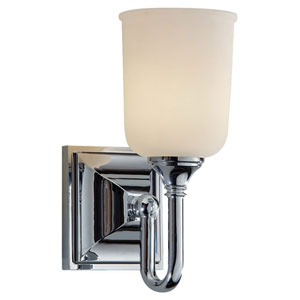 Harvard Chrome One Light Vanity Strip with White Opal Etched Glass