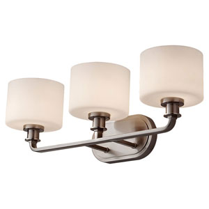Kincaid Brushed Steel Three Light Vanity Fixture with Opal Etched Glass