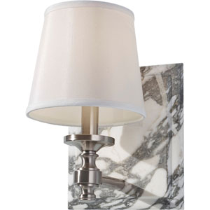 Carrollton Brushed Steel One Light Vanity Strip with Eggshell Shantung Shade