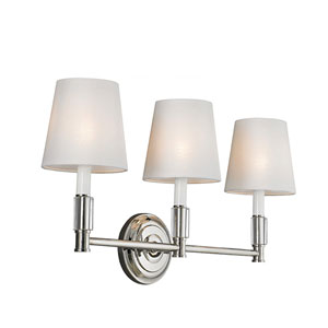 Lismore Polished Nickel Three-Light Vanity Strip with White Fabric Shade