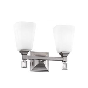 Sophie Brushed Steel Two-Light Wall Bath Vanity with Opal Etched Cased Glass