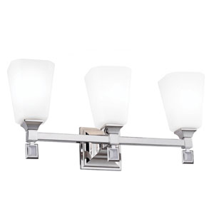 Sophie Polished Nickel Three-Light Wall Bath Vanity with Opal Etched Cased Glass
