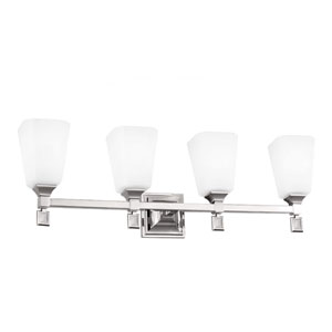 Sophie Polished Nickel Four-Light Wall Bath Vanity with Opal Etched Cased Glass