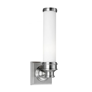 Payne Brushed Steel One-Light Vanity Strip with Opal Etched Glass