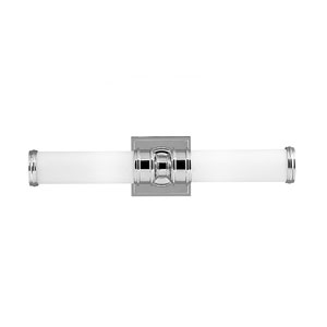 Payne Polished Nickel Two-Light Vanity Strip with White Opal Etched Glass
