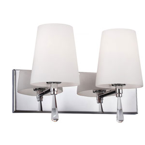 Monica Chrome Two-Light Vanity Strip with Opal Glass