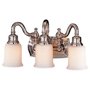 Canterbury Nickel Three-Light Bath Fixture