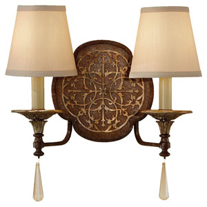 Marcella British Bronze/Oxidized Bronze Two-Light Sconce