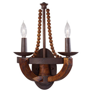 Adan Two-Light Rustic Iron and Burnished Wood Wall Sconce