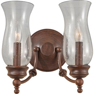 Pickering Lane Heritage Bronze Two Light Wall Bracket with Clear Seeded Glass