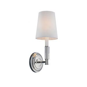 Lismore Polished Nickel One-Light Wall Bracket with White Hardback Fabric Shade