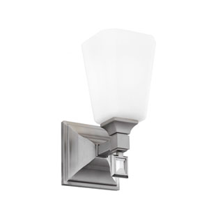 Sophie Brushed Steel One-Light Wall Bracket with Opal Etched Cased Glass