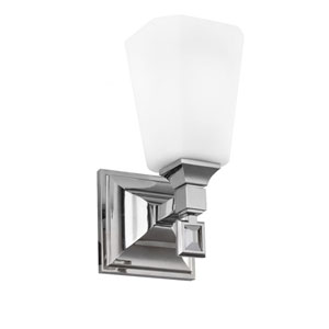 Sophie Polished Nickel One-Light Wall Bracket with Opal Etched Cased Glass