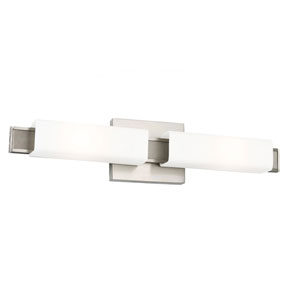 Talia Brushed Steel Two-Light Wall Bracket with Opal Etched Glass
