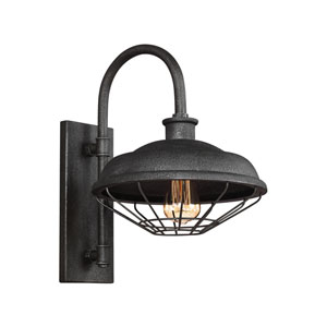 Lennex Slated Grey Metal 17-Inch One-Light Outdoor Wall Lantern