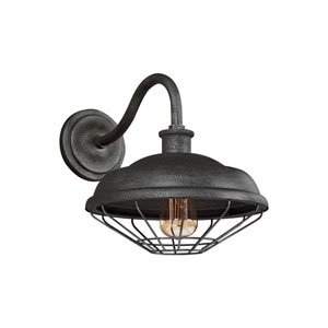 Lennex Slated Grey Metal 13-Inch One-Light Outdoor Wall Lantern