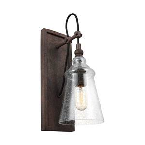 Loras Dark Weathered Iron One-Light Wall Bath Fixture