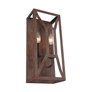 Marquelle Weathered Iron Two-Light Wall Bath Fixture