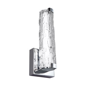 Cutler Chrome 5-Inch LED Wall Bath Fixture with White Acrylic Diffuser and Staggered Stone Glass