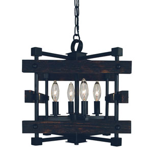 Rustic Chic Matte Black 13-Inch Four-Light Dual Mount Chandelier