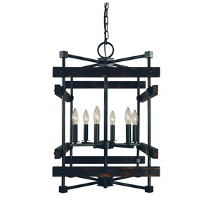 Rustic Chic Matte Black 17-Inch Six-Light Chandelier