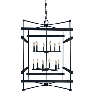 Rustic Chic Matte Black 30-Inch 12-Light Chandelier