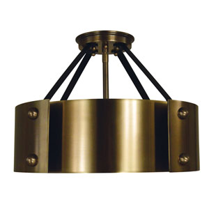 Lasalle Antique Brass with Matte Black Accents 15-Inch Six-Light Semi Flush Mount