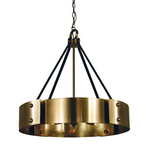 Lasalle Antique Brass with Matte Black Accents 24-Inch Eight-Light Chandelier