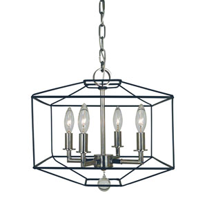 Isabella Polished Nickel with Matte Black Accents 13-Inch Four-Light Dual Mount Chandelier