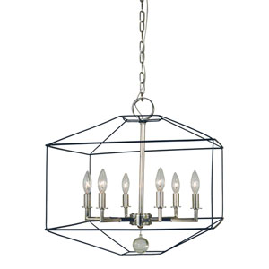 Isabella Polished Nickel with Matte Black Accents 20-Inch Six-Light Chandelier