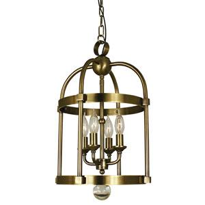 Compass Antique Brass 12-Inch Four-Light Pendant