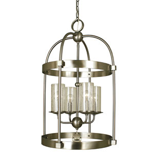Compass Brushed Nickel 17-Inch Four-Light Pendant