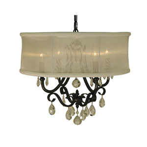 Liebestraum Mahogany Bronze with Sheer Cream Shade 19-Inch Four-Light Pendant