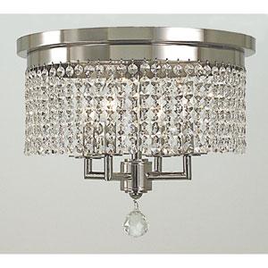 Princessa Polished Silver 15-Inch Four-Light Flush Mount
