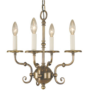 Jamestown Antique Brass 17-Inch Four-Light Chandelier
