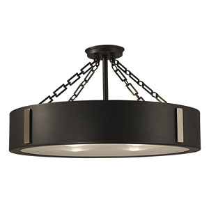 Oracle Charcoal with Polished Nickel Accents 16-Inch Four-Light Semi-Flush Mount