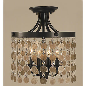 Naomi Mahogany Bronze 12-Inch Four-Light Semi-Flush Mount