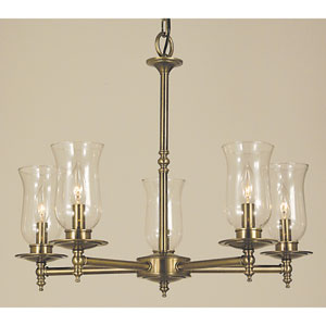 Sheraton Antique Brass 24-Inch Five-Light Chandelier