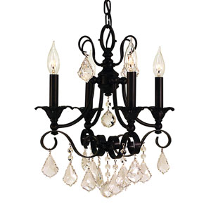 Liebestraum Matte Black 14-Inch Four-Light Chandelier