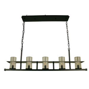 Hammersmith Mahogany Bronze with Clear Glass 41-Inch Five-Light Island Pendant