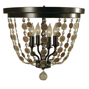 Naomi Mahogany Bronze 15-Inch Four-Light Flush Mount