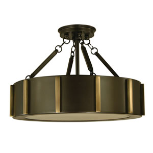 Pantheon Mahogany Bronze with Antique Brass 16-Inch Four-Light Semi-Flush Mount