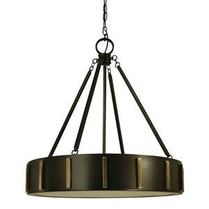 Pantheon Mahogany Bronze with Antique Brass 23-Inch Four-Light Pendant