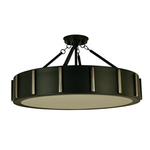Pantheon Matte Black with Polished Nickel 23-Inch Four-Light Semi-Flush Mount