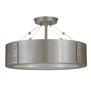 Oracle Satin Pewter with Polished Nickel Accents 16-Inch Four-Light Semi-Flush Mount