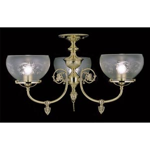 Chancery Polished Brass Three-Light Flush Mount