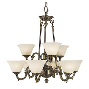 Napoleonic French Brass with White Marble Glass Shade 28-Inch Nine-Light Chandelier