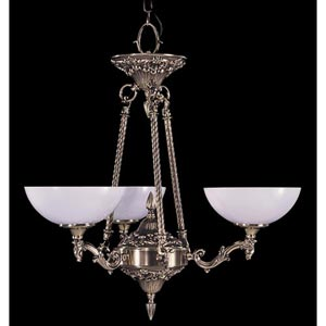 Napoleonic French Brass Three-Light Chandelier